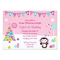 Winter Wonderland Penguin Birthday Invitations