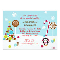 Winter Wonderland Penguin Birthday Invitations