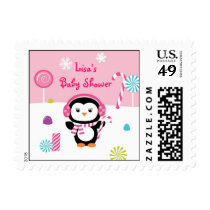 Winter Wonderland Penguin Girl Postage Stamps