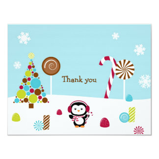 Winter Wonderland Penguin Thank You Note Cards Personalized Invites