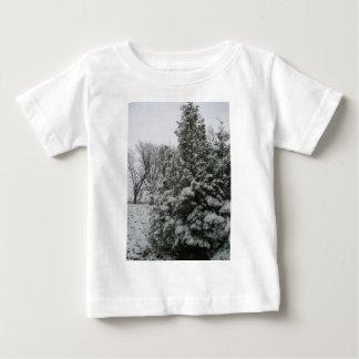 Winter Wonderland Pine Tree with Snow Fall Baby T-Shirt