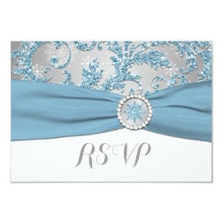 Winter Wonderland, PRINTED BUCKLE Wedding RSVP 4 Personalized Invite