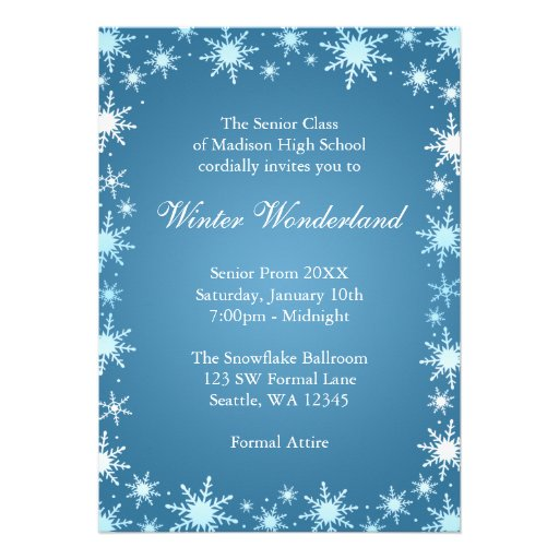 This blue snowflake winter wonderland invitation perfect for a prom