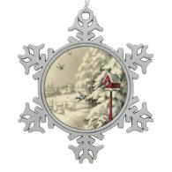 Winter Wonderland Red Birdhouse Ornaments