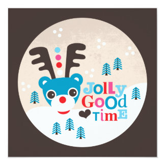 Winter wonderland reindeer christmas postcard
