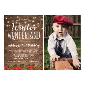 Winter Wonderland Rustic Photo Birthday Party Card