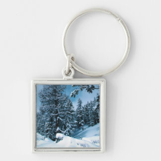 Winter Wonderland Silver-Colored Square Keychain