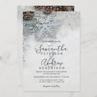 Winter wonderland silver snow typography wedding invitation