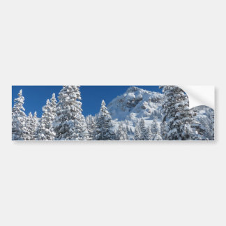 Winter Wonderland Snow Covered Trees Mountains Bumper Sticker