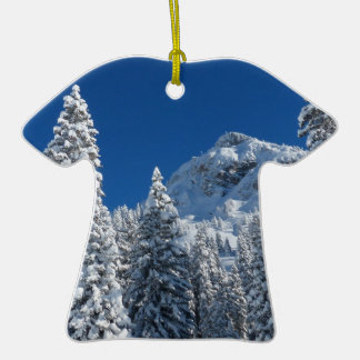 Winter Wonderland Snow Covered Trees Mountains Christmas Ornaments