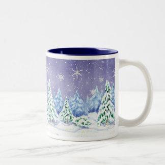 Winter Wonderland Snow Scene Pine Trees Coffee Cup