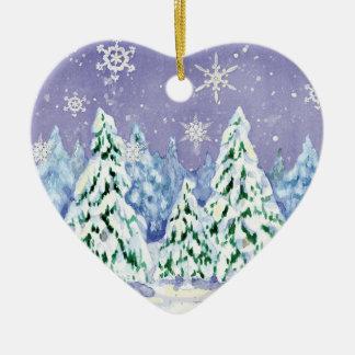 Winter Wonderland Snow Scene Pine Trees Ornament