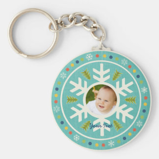Winter Wonderland Snowflake and Tree personalized Keychain