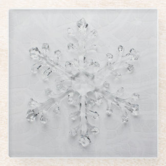 Winter Wonderland Snowflake and White Lace Photo Glass Coaster
