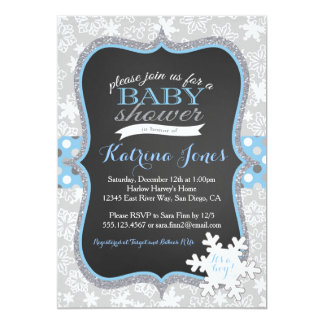 Lovely Winter Wonderland Snowflake Baby Shower Invitation