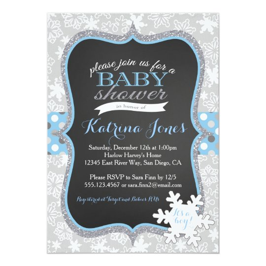 Winter Wonderland Snowflake Baby Shower Invitation Zazzlecom
