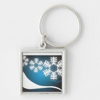 Winter Wonderland Snowflake Background Key Chains