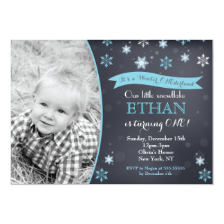 Winter Wonderland Snowflake Birthday Invitations