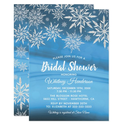Winter Wonderland Snowflake Bridal Shower Invitation