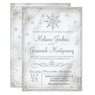 Beautiful Winter Wonderland Snowflake Wedding Invitations