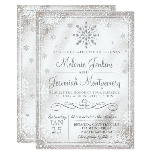 Snowflake Wedding Invitations | Winter Wonderland Snowflake Wedding Invitations Zazzle Com