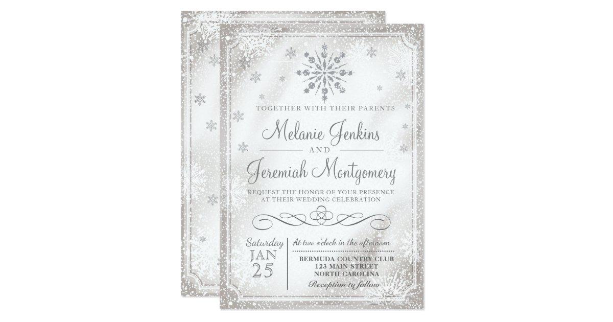 Winter Wonderland Snowflake Wedding Invitations | Zazzle.com