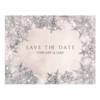 Winter Wonderland Snowflakes Cream Save the Date Postcard