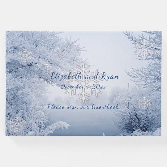 Winter Wonderland, Snowflakes, Custom, Wedding Guest Book   Zazzle.com