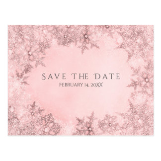 Winter Wonderland Snowflakes Pink Save the Date Postcard