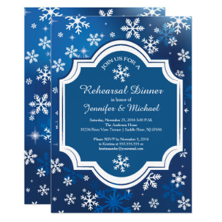 Winter Wonderland Snowflakes Rehearsal Dinner Card
