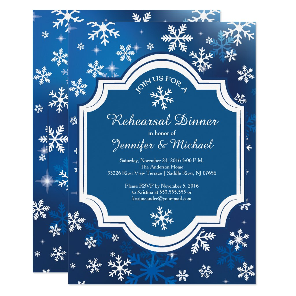 Winter Wonderland Snowflakes Rehearsal Dinner Invitation