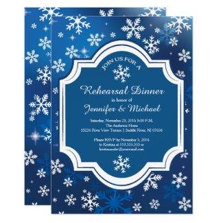 Winter Wonderland Snowflakes Rehearsal Dinner Invitation