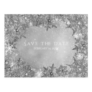 Winter Wonderland Snowflakes Silver Save the Date Postcard