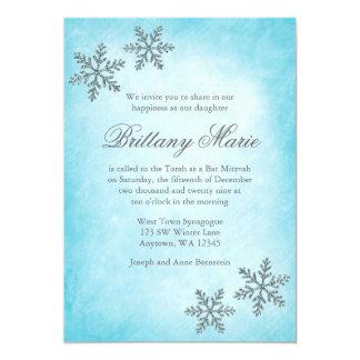 Winter Wonderland Snowflakes Teal Bat Mitzvah Custom Invites