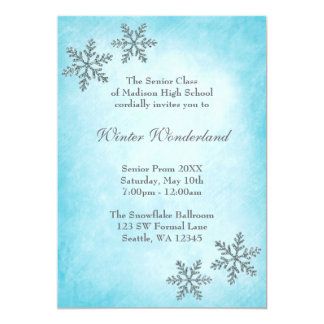 Winter Wonderland Snowflakes Teal Prom Formal Card