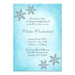 Winter Wonderland Snowflakes Teal Prom Formal 5x7 Paper Invitation Card