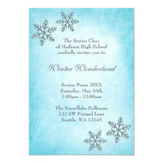 "Winter Wonderland Snowflakes Teal Prom Formal 5"" X 7"" Invitation Card"