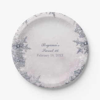 Winter Wonderland Snowflakes White Elegant Party Paper Plate