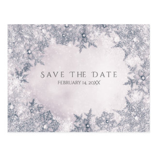 Winter Wonderland Snowflakes White Save the Date Postcard