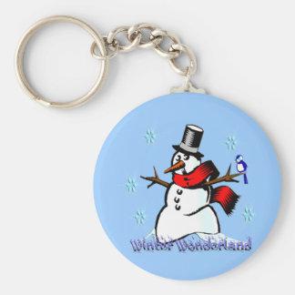Winter Wonderland Snowman Basic Round Button Keychain