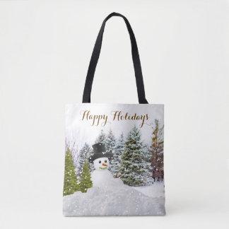 Winter Wonderland Snowman Christmas Tote Bag