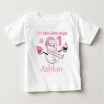 Winter Wonderland Snowman Cupcakes First Birthday Baby T-Shirt