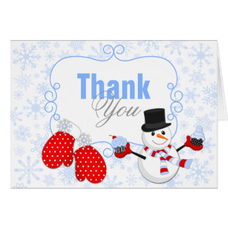 Winter Wonderland Snowman Mittens Thank You Stationery Note Card
