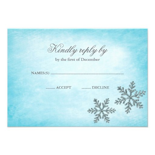 Winter Wonderland Sparkle Snowflakes Teal RSVP Custom Announcement