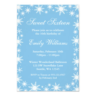 Winter Wonderland Sweet 16 Birthday Party 5x7 Paper Invitation Card