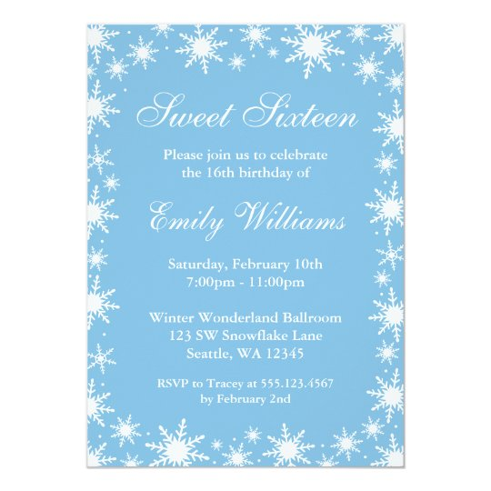 Winter Wonderland Sweet 16 Birthday Party Card