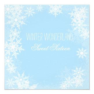 "Winter Wonderland Sweet Sixteen Party 5.25"" Square Invitation Card"