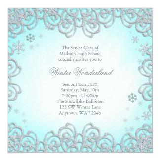"Winter Wonderland Swirl Snowflakes Prom 5.25"" Square Invitation Card"