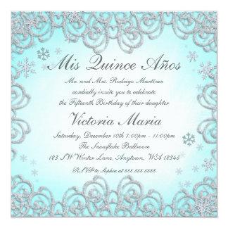 "Winter Wonderland Swirl Snowflakes Quinceanera 5.25"" Square Invitation Card"
