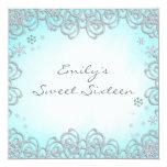 Winter Wonderland Swirl Snowflakes Sweet 16 Custom Invitations